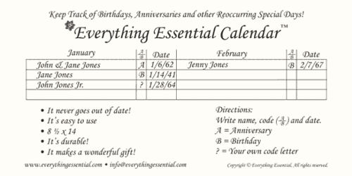 Easy to use Everything Essential Birthday Calendars™
