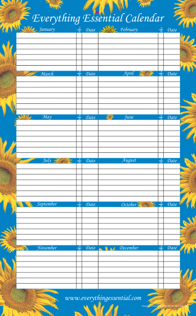 Everything Essential Birthday Calendar Sunflower Blue