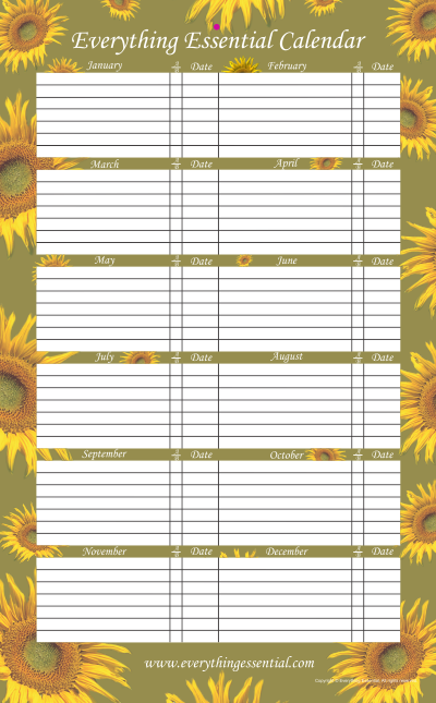 Everything Essential Birthday and Anniversary Calendar Sunflower Green